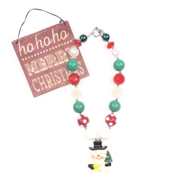 RTS Green and Red Snowman Necklace