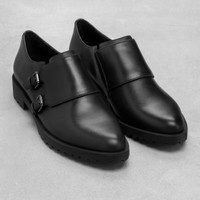 & Other Stories | Monk Strap Leather Shoes | Black