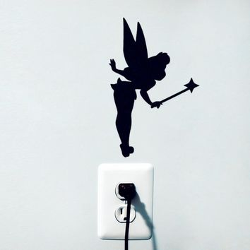 nursery Tinkerbell Fairy Silhouette Wall Sticker for girl bedroom decoration,M3S2