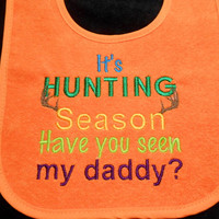 Toddler Bib, Hunting Season, Multi Snap Closure, Baby Shower Gift, Teething Bib, Waterproof Bib, Triple Layer, Embroidered Bib, Baby Boy
