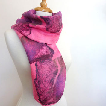 Unusual Felted Wearable Art. Wool Felted Scarf Pink Textile Art