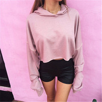New Women Autumn Casual Long Sleeve Cropped  Sweatshirt Pullover Hoodies outerwear coat Streetwear with Hat