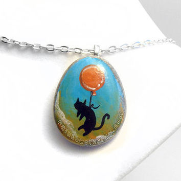 Black Cat Necklace, Red Balloon Pendant, Animal Painting, Hand Painted Jewelry, Cat Owner Gift, Pet Art, Orange and Blue Sky