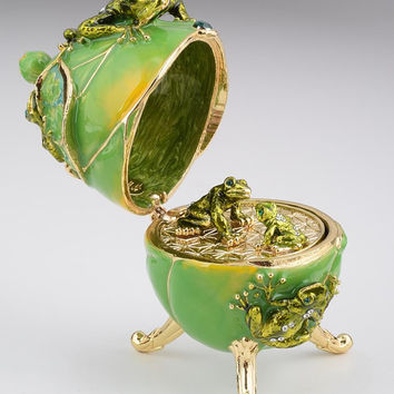 Frogs Faberge Easter Egg with a Frog Pendant
