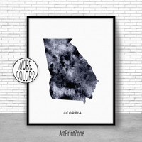 Georgia Art Print Georgia Decor Georgia Print Georgia Map Art Print Map Artwork Map Print Map Poster Watercolor Map ArtPrintZone