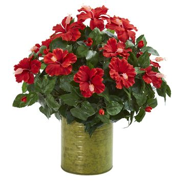 Artificial Plant -Hibiscus Plant with Metal Planter