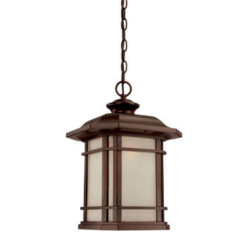 Acclaim Lighting 8126ABZ Somerset Architectural Bronze Large 17.25-Inch Hanging Lantern with Frosted Clear Seeded Glass