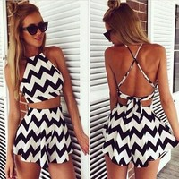 Crop Top and Skirt Set Striped Skirt Suit Short Skirt Women Suit Set