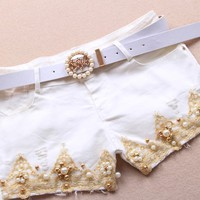 Slim Brushed Gold Crochet Pearl Denim Shorts JBICI