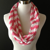 Super Cute New Jersey Knit Pink & White Infinity Chevron Fashion Scarf SUPER SOFT Great Valentine's Day Gift!