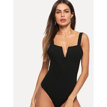 V Cut Front Form Fitting Bodysuit
