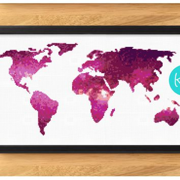 Pink World Map Cross Stitch Kit