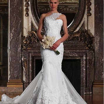 [347.99] Gorgeous Tulle One Shoulder Neckline Mermaid Wedding Dresses with Beaded Lace Appliques - dressilyme.com