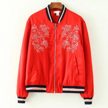 Hot Deal On Sale Sports Autumn Red Embroidery Jacket Women's Fashion Baseball [8511500359]