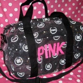 Victoria's Secret PINK Black Sequin Bling Crest 86 Mini Duffle Bag