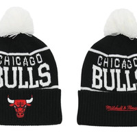 Mitchell & Ness Chicago Bulls Overcuff Pom Knit Beanie  [SOLD OUT]