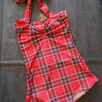 SALE Red Plaid Retro one piece pin-up maillot swimsuit (sizes xs-xl)