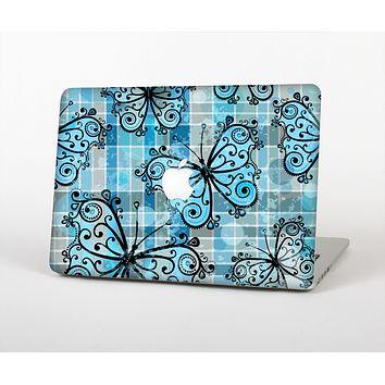 The Vibrant Blue Butterfly Plaid Skin for the Apple MacBook Air 13""