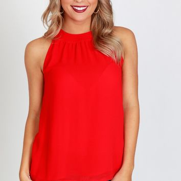 High Neck Tank Red