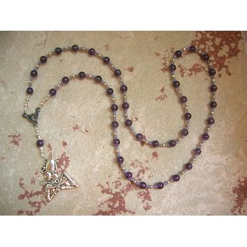 Osiris (Wesir) Prayer Bead Necklace in Amethyst: Egyptian God of Death and the Afterlife
