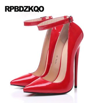Thin Pumps 16cm Ankle Strap Black Red Sexy Super High Heels Fetish Big Women Shoes Size 45 Patent Leather 12 44 Crossdresser