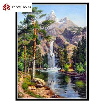Needlework,embroidery,DIY DMC Cross stitch,Waterfall Pattern 14CT white canvas counted Cross-Stitching home decor crafts