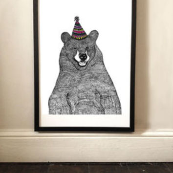 Party Bear Illustrated Print