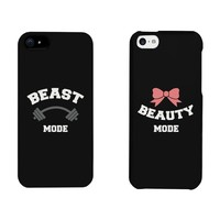 Beauty Mode and Beast Mode Couples Matching Cell Phone Cases for iphone 4, iphone 5, iphone 5C, iphone 6, iphone 6 plus, Galaxy S3, Galaxy S4, Galaxy S5 in Black