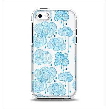 The White and Blue Raining Yarn Clouds Apple iPhone 5c Otterbox Symmetry Case Skin Set