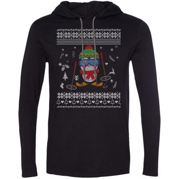 Penguin Skiing Ugly Christmas Sweater 987 Anvil LS T-Shirt Hoodie