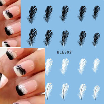 1pcs Beautiful Black White Feather Nail Art Decal Stickers Fashion Tips Decoration New For Women Girl Watermark Nail Art BLE892