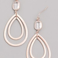 Orbit Raindrop Dangle Earrings - Rose Gold