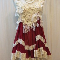 Custom Made Sexy Ivory Lace with Sangria Red Chiffon by Madabby
