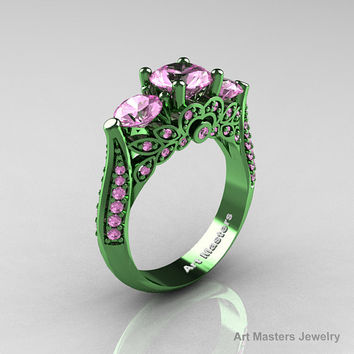 Classic 14K Green Gold Three Stone Light Pink Sapphire Solitaire Engagement Ring, Wedding Ring R200-14KGGLPS