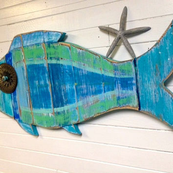 Large Fish Wall Art Sign Beach House Sea Glass Colours Decor by CastawaysHall - Ready to Ship