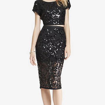 LACE SEQUIN MIDI PENCIL SKIRT from EXPRESS