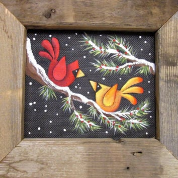 Red and Yellow Cardinals in Winter, Male and Female Cardinal, Winter Scene, Tole Painted, Reclaimed Wood Frame, Evergreen Trees