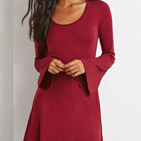 Red Bell Sleeve Mini Dress