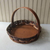 Vintage Brown Basket with Wooden Slat Handle, Sides and Wooden Bottom , Round Fiber and Wood Shallow Basket , Gift Basket Idea