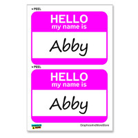 Abby Hello My Name Is - Sheet of 2 Stickers
