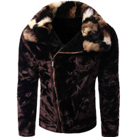 Faux Fur Collar Black Zipper Closure Coat
