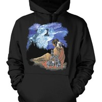 Howling Wolf Spirit Native American Squaw Mens Sweatshirt, American Indian Princess With Wolf Pups Pullover Hoodie