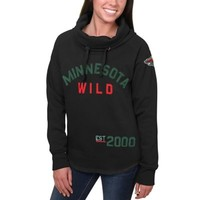 Women's Minnesota Wild Black Fleece Funnel Neck Pullover Sweatshirt