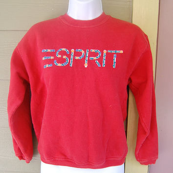 Vintage 80s Red Esprit Floral Logo Sweatshirt Jumper Girls Large // Ladies S/M