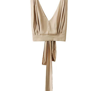V Neck Sleeveless Cropped Tank Top with Bow Back