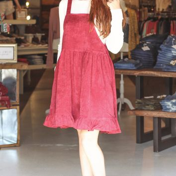 Burgundy Corduroy Overall Dress w/ Ruffle