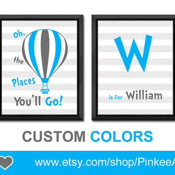 blue grey dr seuss oh the places nursery art hot air balloon baby nursery print boy playroom decor nursery name letters boy decor toddler
