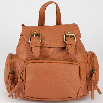 Faux Leather Mini Backpack Cognac One Size For Women 23464240901