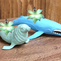 Up-cycled Small Blue Whale and Sea Glass Sea Lion Planter