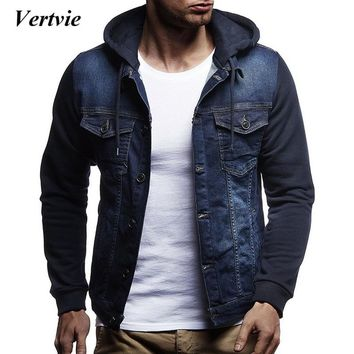 VERTVIE Brand New 2018  Men Jeans Jackets Men Hooded Autumn Winter Coat For Male High Quality Fashion Classic Solid Clothes